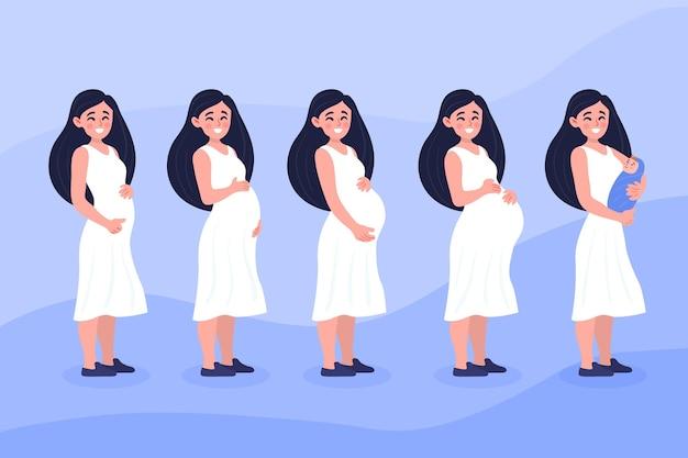 Concepto de ilustración de etapas de embarazo vector gratuito