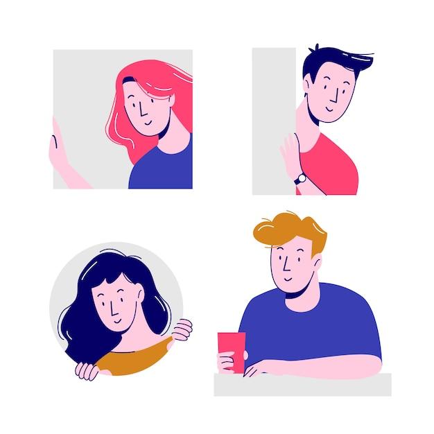 Concepto de ilustración con gente asomando vector gratuito