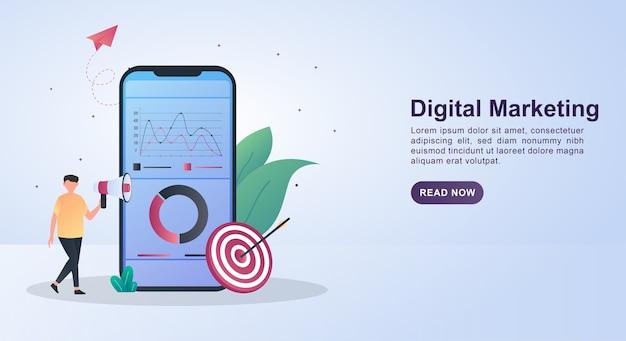 Concepto de ilustración de marketing digital con el diagrama en la pantalla y la persona que sostiene el megáfono. Vector Premium