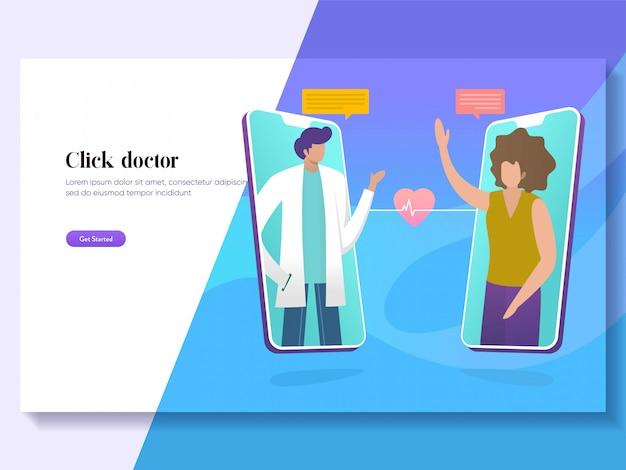 Concepto de ilustración médica en línea vector médico, consulta paciente al médico a través de teléfono inteligente Vector Premium