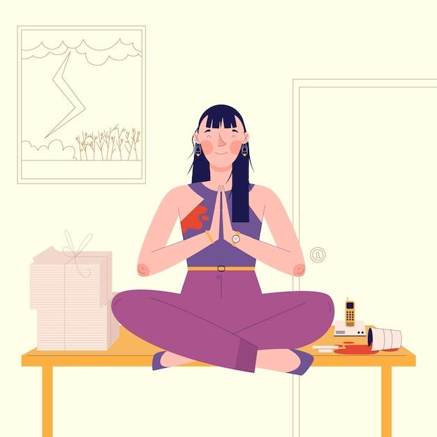 Concepto de ilustración de meditación vector gratuito