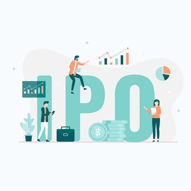 Concepto de ilustración de oferta pública inicial (opi). ilustración para sitios web, páginas de destino, aplicaciones móviles, carteles y pancartas. Vector Premium