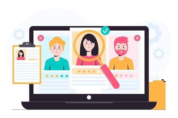 Concepto de ilustración de reclutamiento Vector Premium
