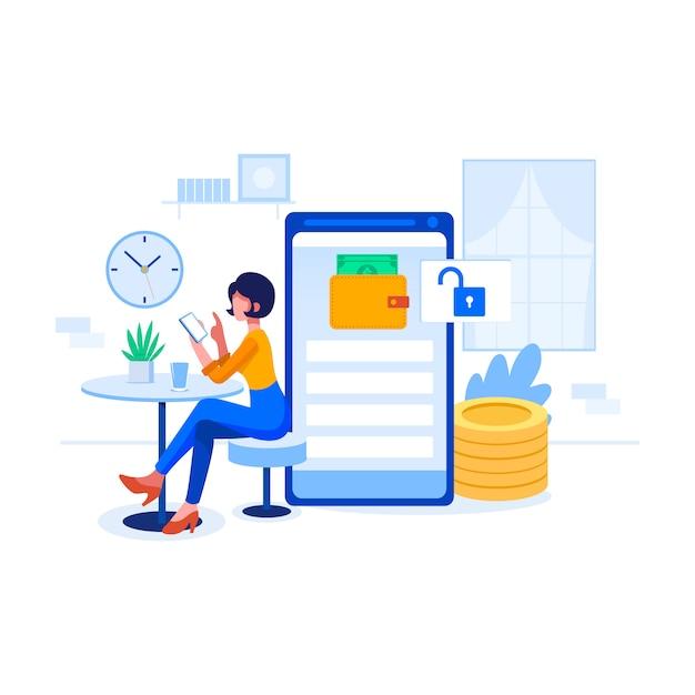 Concepto de ilustración del servicio de banca en línea Vector Premium