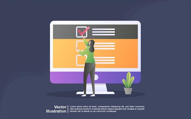 Concepto de ilustración de soporte en línea. concepto de ilustración de encuesta de preguntas y respuestas Vector Premium