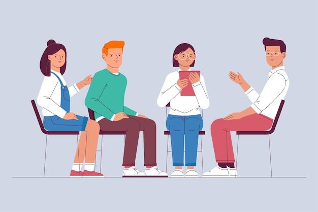 Concepto de ilustración de terapia de grupo vector gratuito