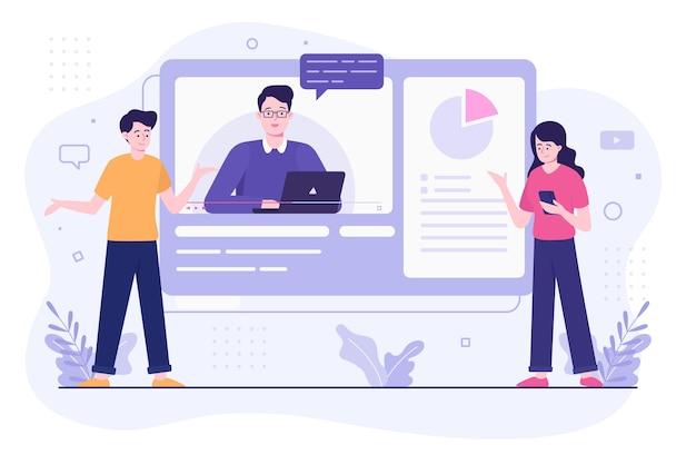 Concepto de ilustración de tutoriales en línea vector gratuito