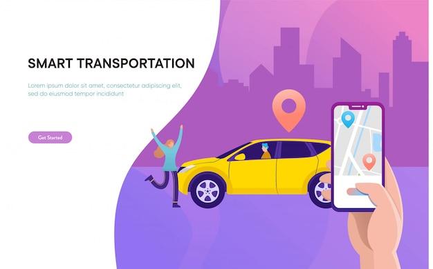 Concepto de ilustración de vector de transporte de ciudad inteligente, coche compartido en línea con personaje de dibujos animados y teléfono inteligente Vector Premium