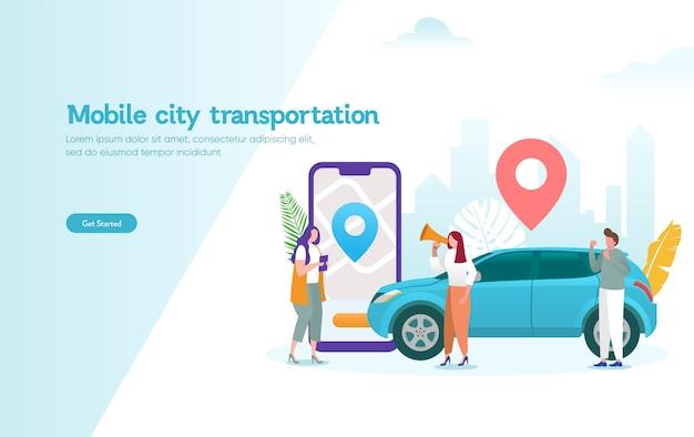 Concepto de ilustración de vector de transporte de ciudad móvil, coche compartido en línea con personaje de dibujos animados y teléfono inteligente Vector Premium