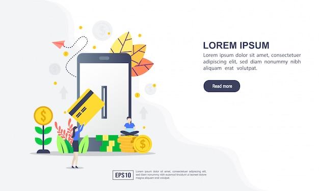 Concepto de ilustración vectorial de pago en línea con carácter Vector Premium