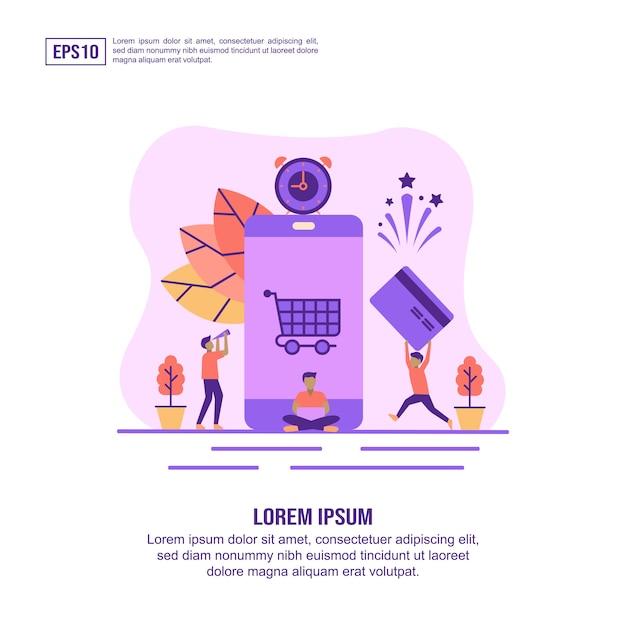 Concepto de ilustración vectorial de pago en línea Vector Premium