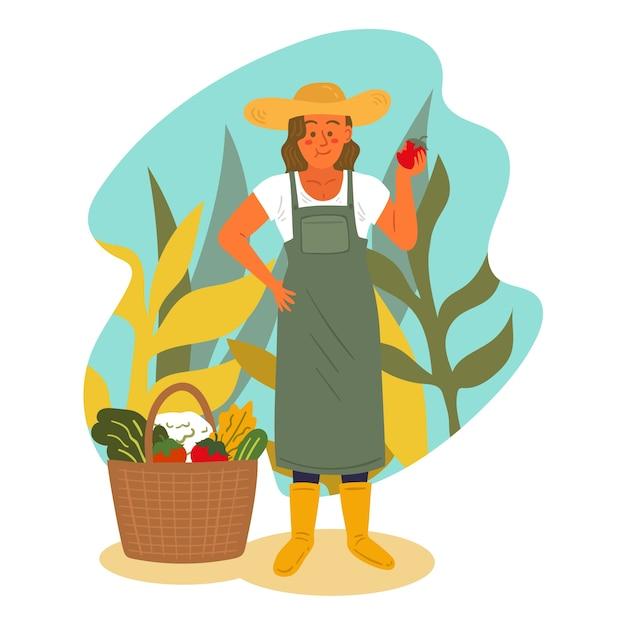 Concepto ilustrado de agricultura organig vector gratuito