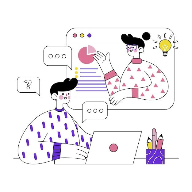 Concepto ilustrado de cursos en línea vector gratuito