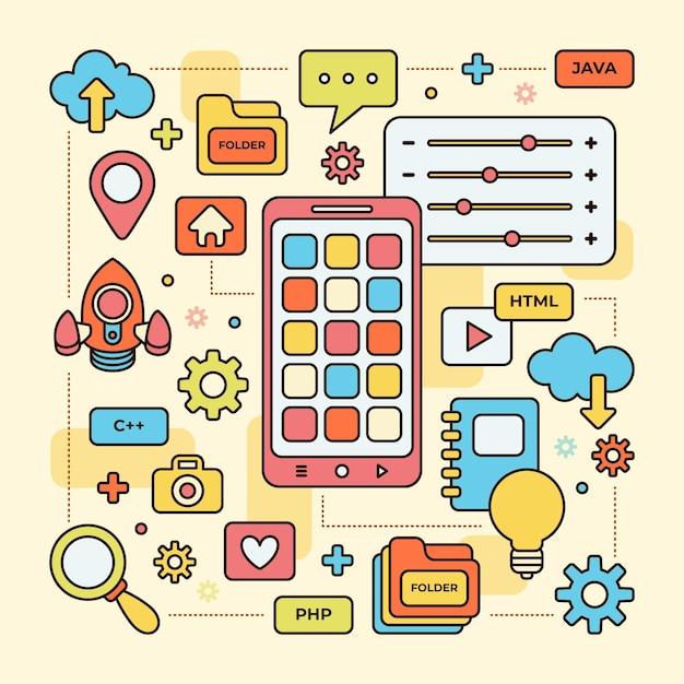 Concepto ilustrado de desarrollo de aplicaciones vector gratuito