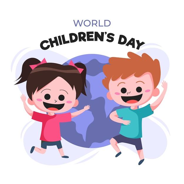 Concepto ilustrado del día mundial del niño. vector gratuito