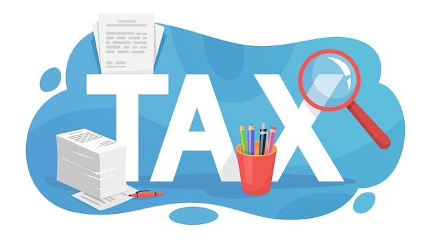Concepto de impuestos. idea de contabilidad y pago. financiero Vector Premium