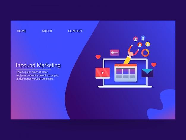 Concepto de inbound marketing Vector Premium