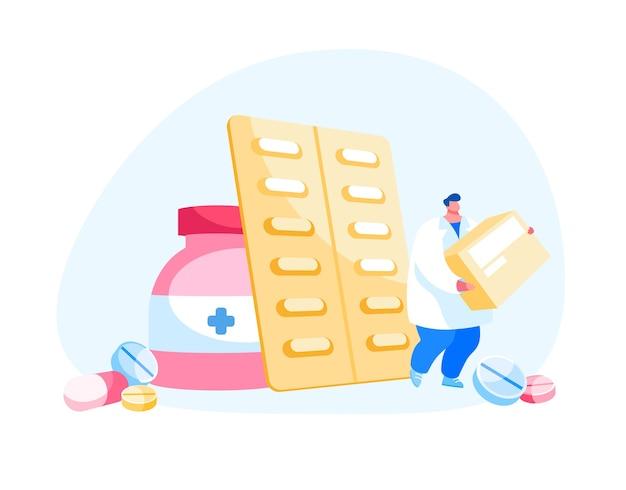 Concepto de industria de medicamentos y atención médica Vector Premium