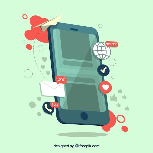 Concepto de influence marketing con smartphone vector gratuito