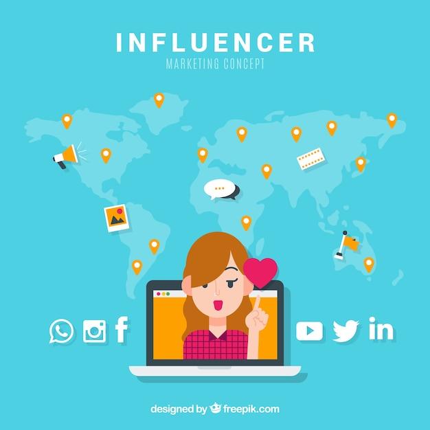 Concepto de influencer marketing con chica y corazón vector gratuito