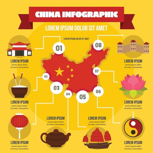Concepto de infografía de china, estilo plano Vector Premium
