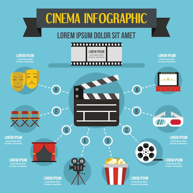 Concepto de infografía cine, estilo plano. Vector Premium