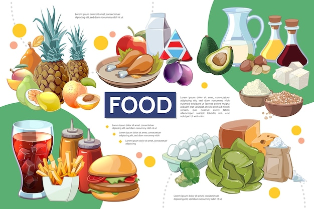 Concepto de infografía de comida de dibujos animados vector gratuito