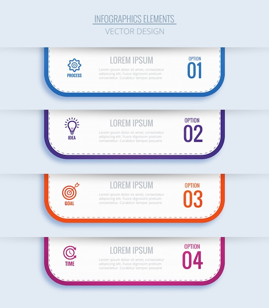 Concepto de infografía empresarial moderno con cuatro pasos vector gratuito