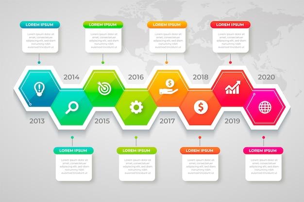 Concepto de infografía empresarial con progreso vector gratuito