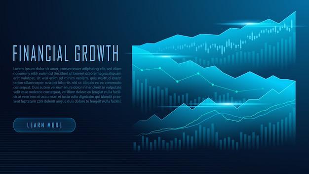 Concepto de infografía de gráfico bursátil o forex Vector Premium