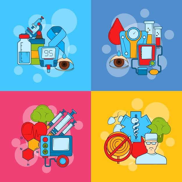 Concepto de infografía de los iconos de diabetes color Vector Premium