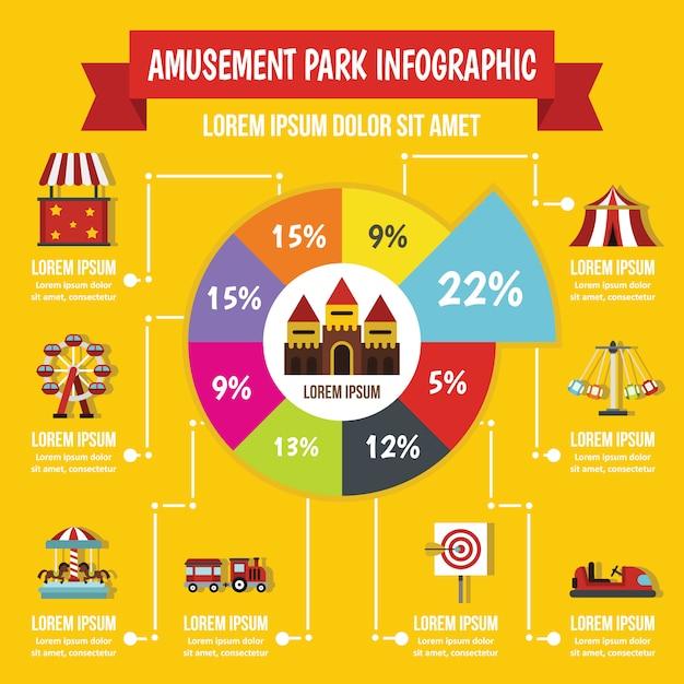 Concepto de infografía parque de atracciones, estilo plano Vector Premium