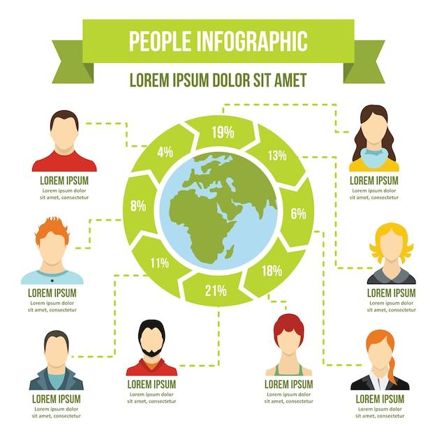 Concepto de infografía personas, estilo plano Vector Premium