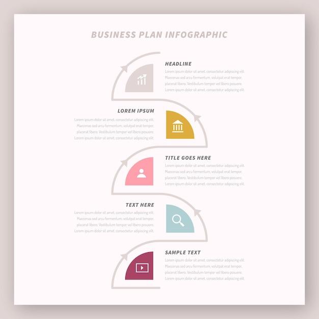 Concepto de infografía del plan de negocios Vector Premium