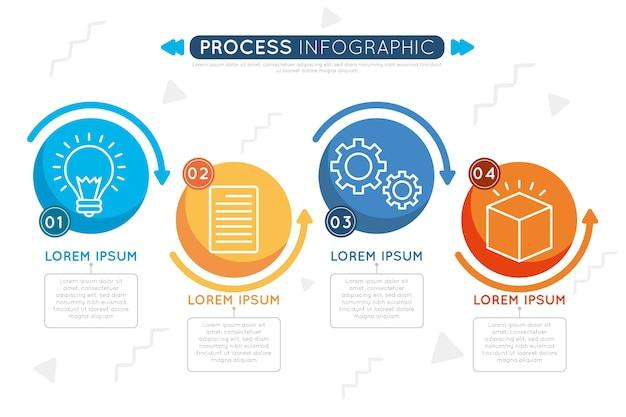 Concepto de infografía de proceso plano vector gratuito