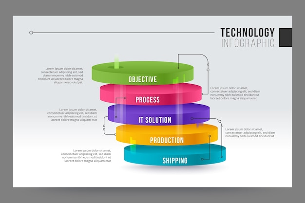 Concepto de infografía de tecnología vector gratuito