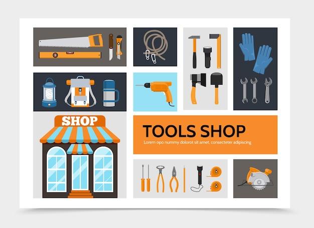 Concepto de infografía de tienda de herramientas planas vector gratuito