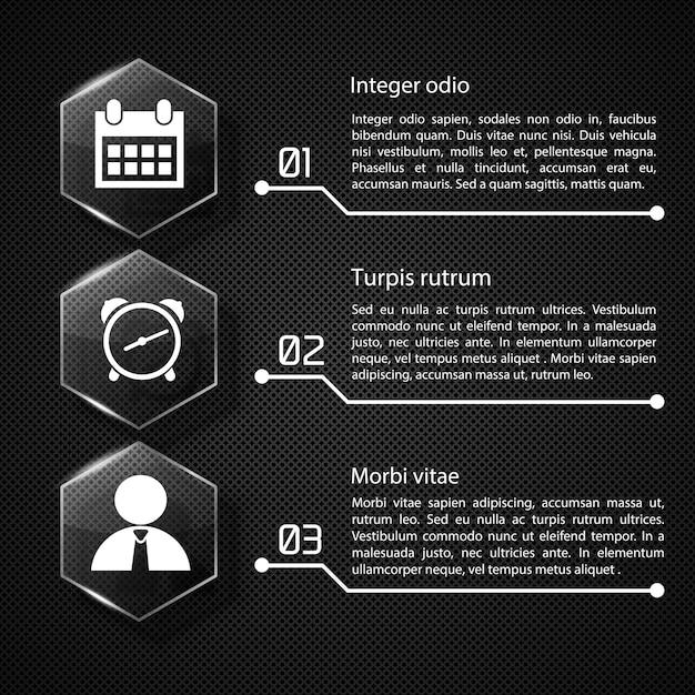 Concepto de infografía web con hexágonos de vidrio de texto iconos blancos tres opciones en la ilustración de red oscura vector gratuito