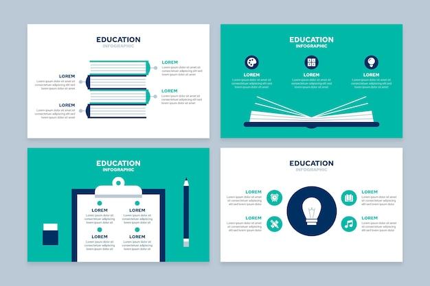 Concepto de infografías de educación plana vector gratuito