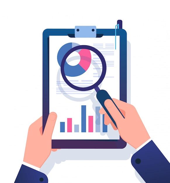 Concepto de informe comercial. hombre de negocios que investiga el documento de la oficina financiera con la lupa. ilustración de vector de análisis de datos Vector Premium