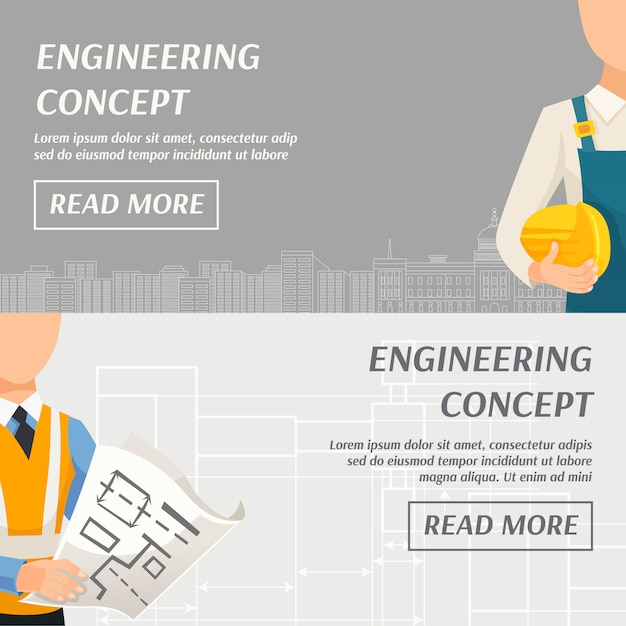 Concepto de ingeniería banners horizontales vector gratuito