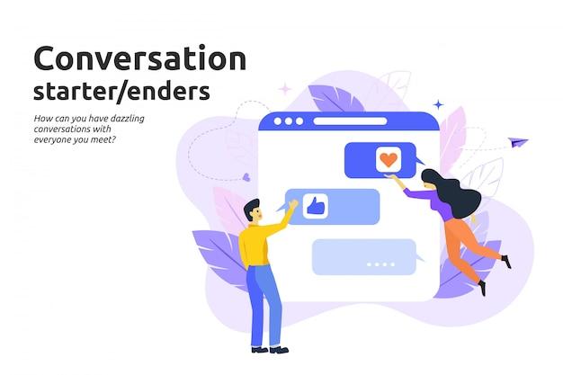 Concepto de inicio y finalización de la conversación. vector plano moderno Vector Premium