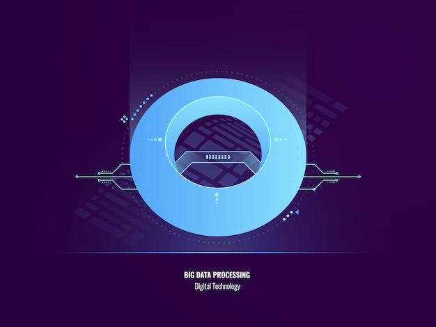 Concepto de insight de datos, ilustración abstracta de análisis de datos grandes, tecnología digital vector gratuito
