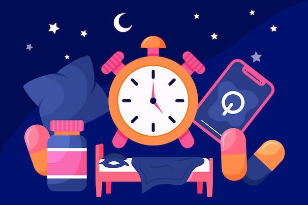 Concepto de insomnio con reloj vector gratuito