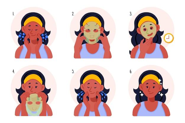 Concepto de instrucciones de máscara de hoja vector gratuito