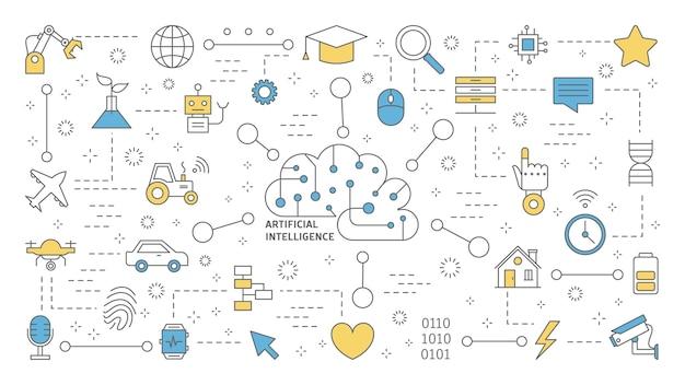 Concepto de inteligencia artificial o inteligencia artificial. tecnología futurista y aprendizaje automático. idea de asistencia robótica y mente humana. conjunto de iconos de línea. ilustración Vector Premium