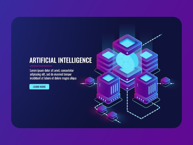 Concepto de inteligencia artificial, sala de servidores, procesamiento de datos grandes, cerebro en la incubadora vector gratuito