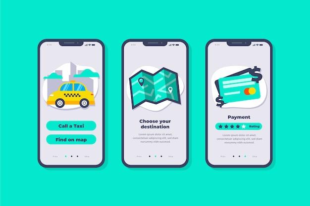 Concepto de interfaz de la aplicación de taxi vector gratuito