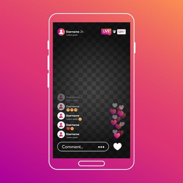 Concepto de interfaz de instagram de transmisión en vivo vector gratuito