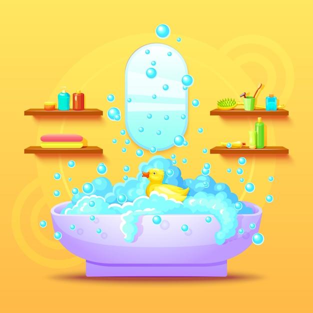 Concepto interior de baño colorido vector gratuito